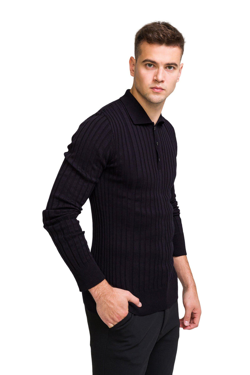 Ribbed L/S Polo - Black - Ron Tomson