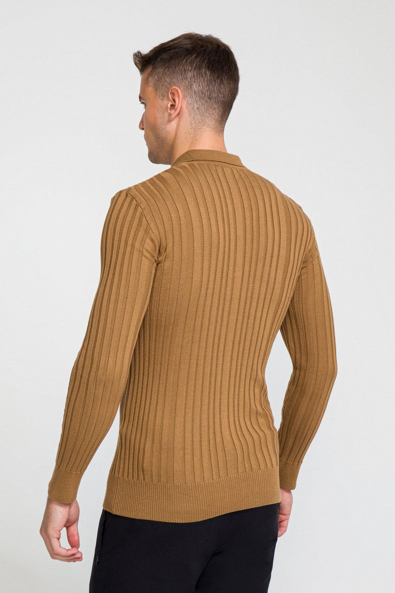 Ribbed L/S Polo - Camel - Ron Tomson