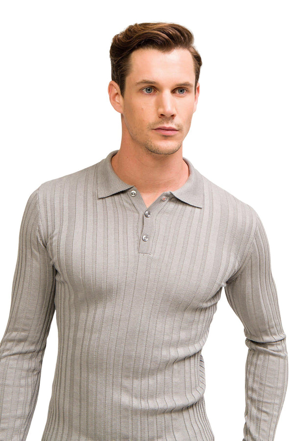 Ribbed L/S Polo - Grey - Ron Tomson