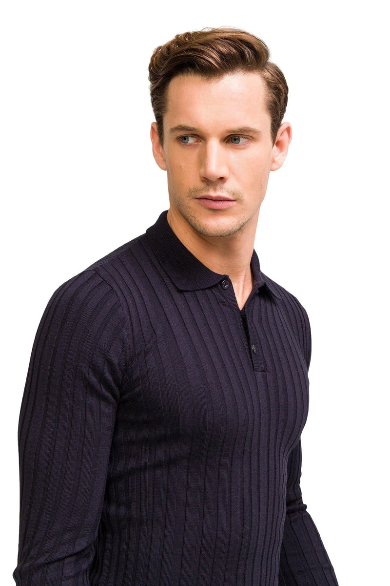 Ribbed L/S Polo - Navy - Ron Tomson ?id=13861442158677