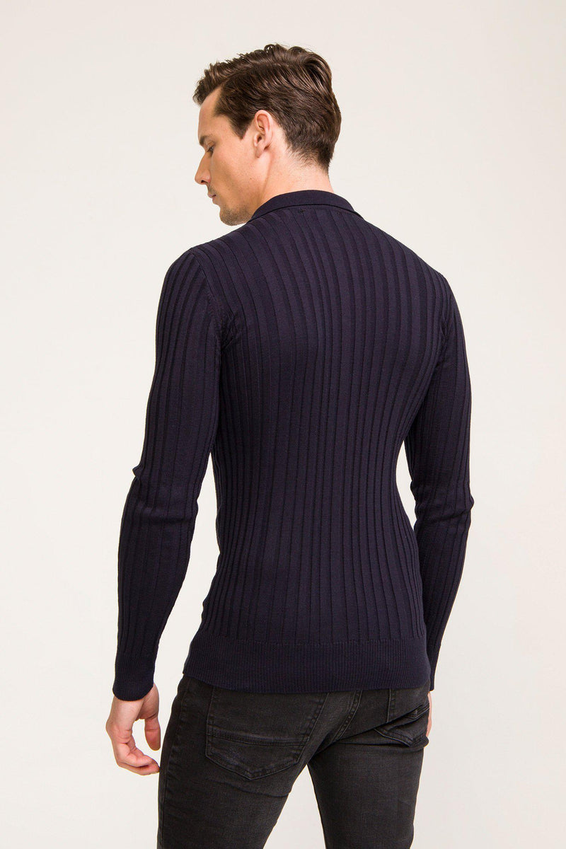 Ribbed L/S Polo - Navy - Ron Tomson ?id=13861442846805