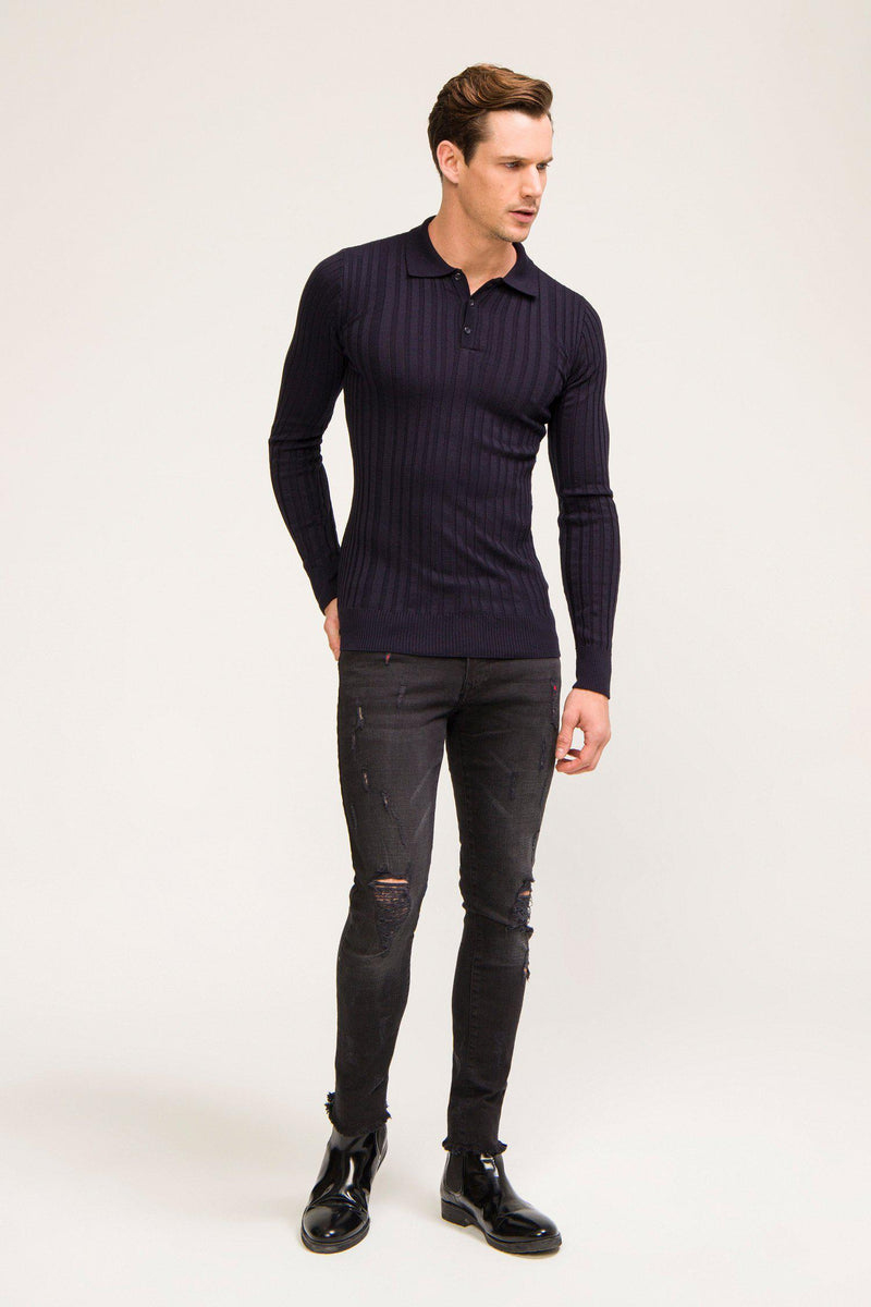 Ribbed L/S Polo - Navy - Ron Tomson ?id=13861443207253