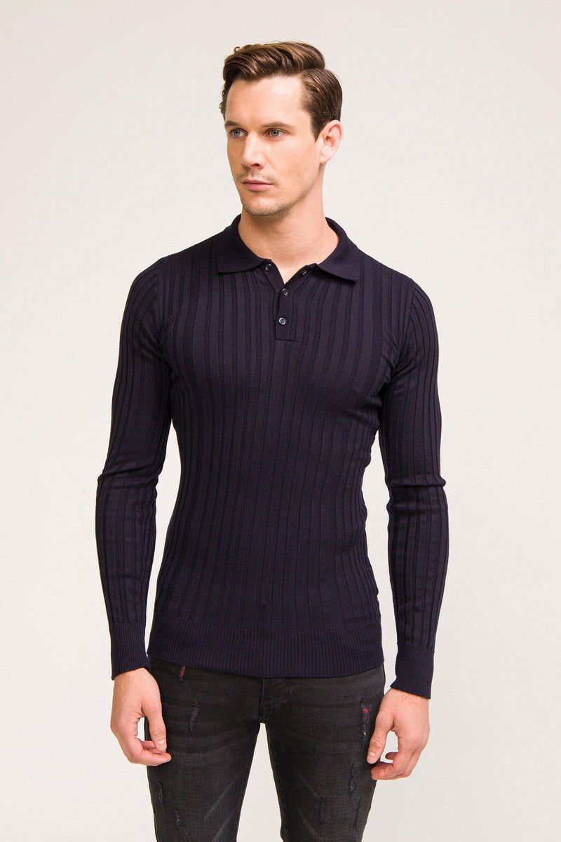 Ribbed L/S Polo - Navy - Ron Tomson ?id=13861443797077