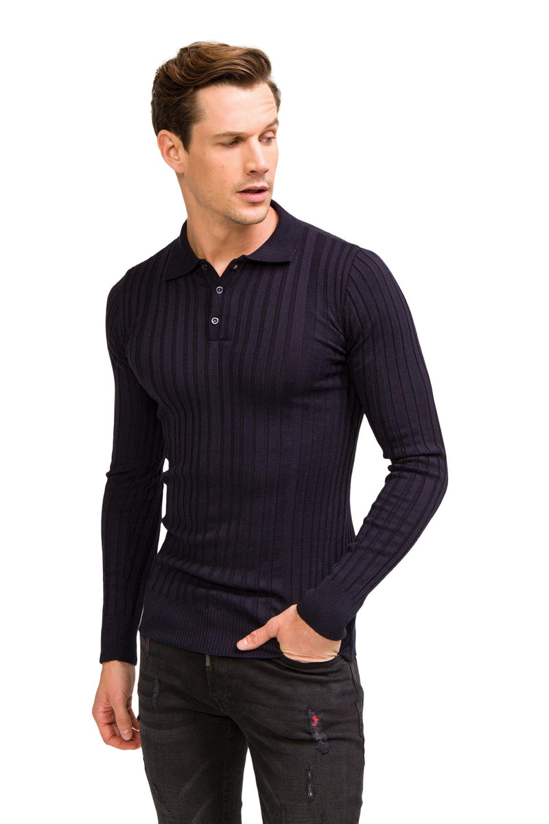 Ribbed L/S Polo - Navy - Ron Tomson ?id=13861441667157