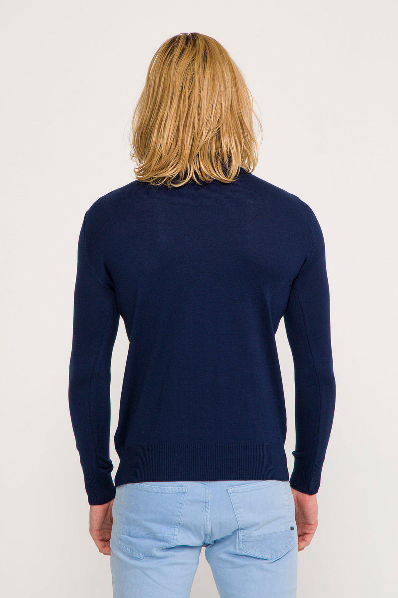 ROLLNECK SWEATER NAVY - Ron Tomson