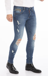 RT Distressed Stoned Slim Fit Denim  - Navy - Ron Tomson