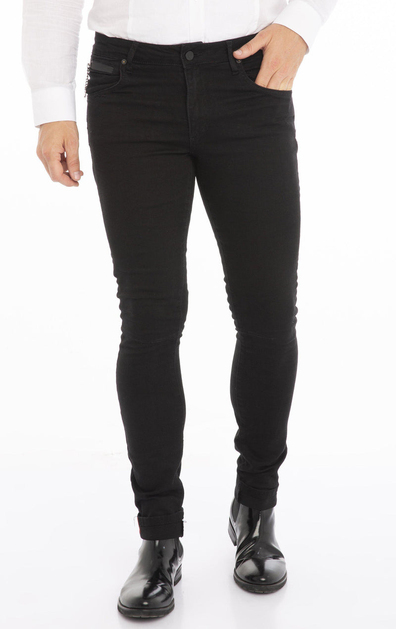 RT Inner Red Skinny Denim - Black Washed - Ron Tomson