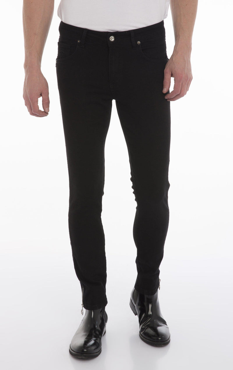 Rt Zip Track Slim Fit Jeans - Black - Ron Tomson