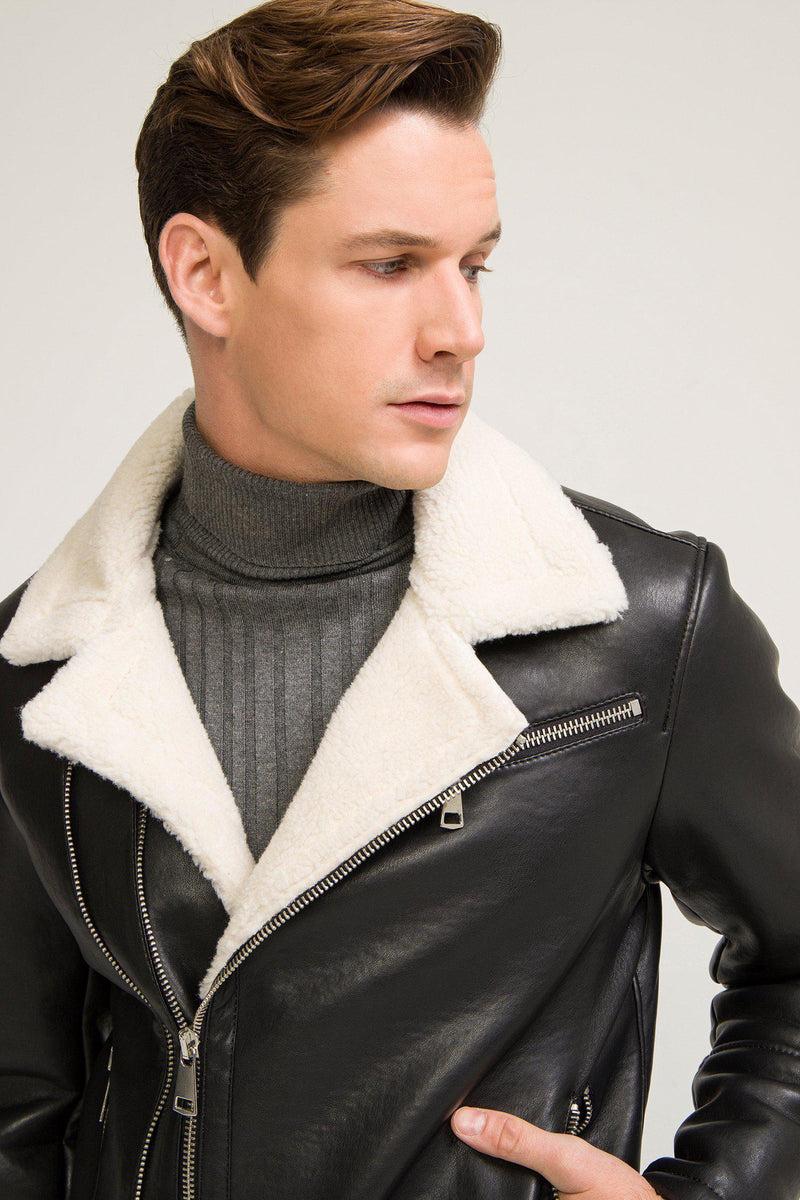 Shearling Lined Faux Leather Jacket - Black - Ron Tomson