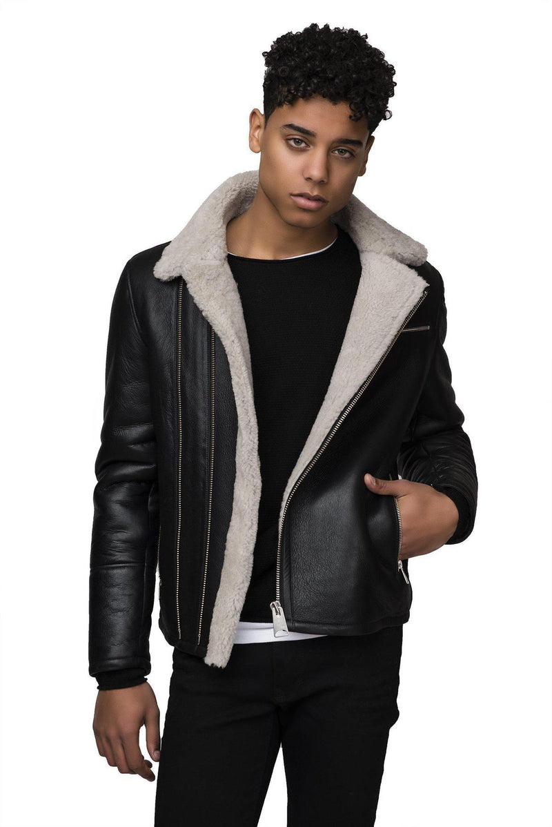 Shearling Lined Leather Jacket - Black - Ron Tomson