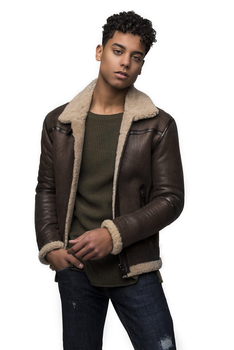 Shearling Lined Leather Jacket - Brown - Ron Tomson