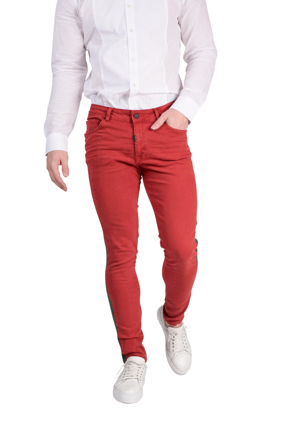 Side Band Men's Skinny Jeans - RED - Ron Tomson
