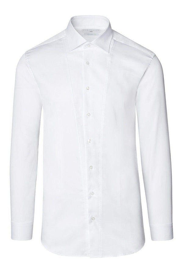 SLIM FIT PIQUE FRONT LONG SLEEVE TUXEDO SHIRT - WHITE - Ron Tomson