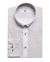 Slim Fit Printed Shirt - White Brown - Ron Tomson ?id=15005360914517