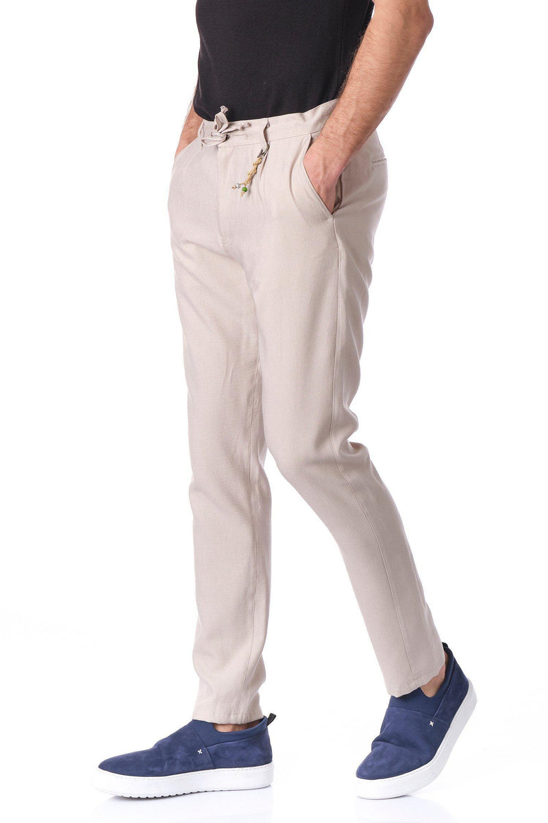 Solermo Lightweight Drawstring Pants -Stone - Ron Tomson