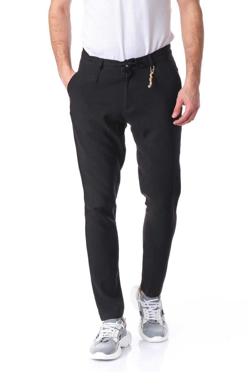 Solermo Lightweight Drawstring Trouser - Black - Ron Tomson
