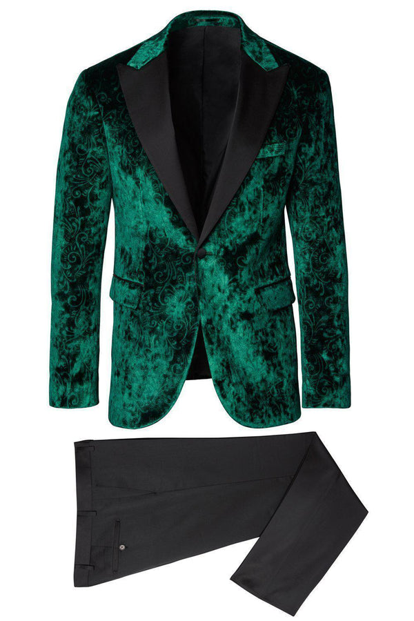 Spiral Floral Velvet Dinner Jacket - Green1 - Ron Tomson