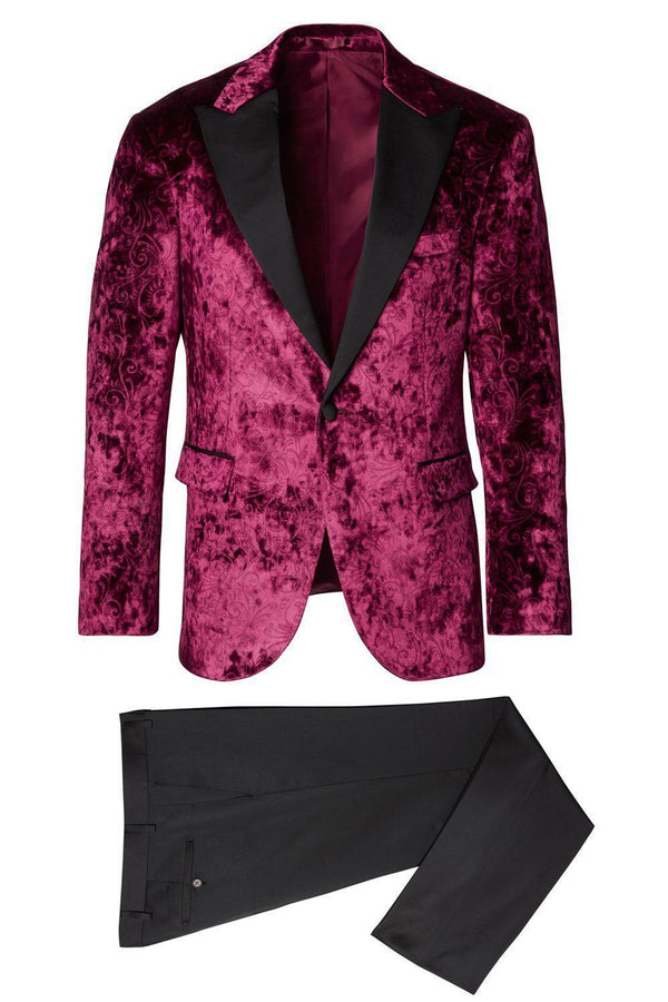 Spiral Floral Velvet Dinner Jacket - Wine1 - Ron Tomson