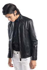 Stand Collar Punched Lambskin Jacket - Ron Tomson