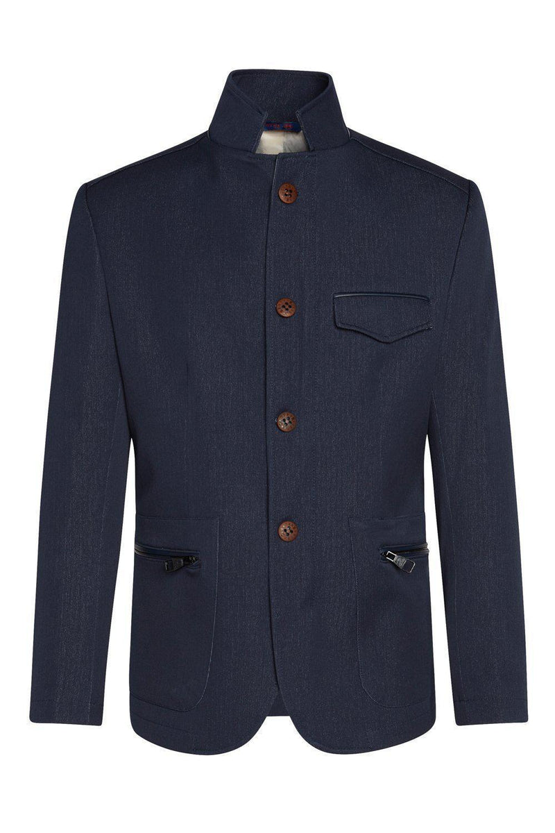 Stand Collar Sport Coat - Navy - Ron Tomson