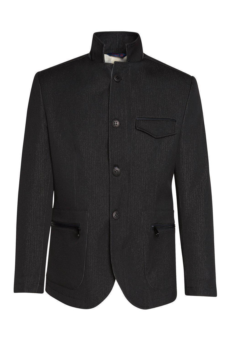 Stand Collar Sports Coat- Black - Ron Tomson