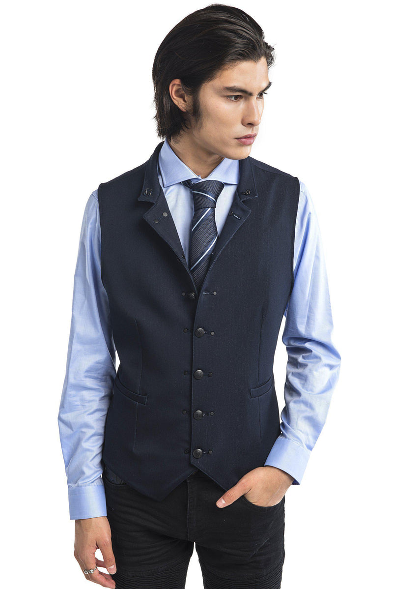 Stand Up Notch Collar Vest - Navy - Ron Tomson