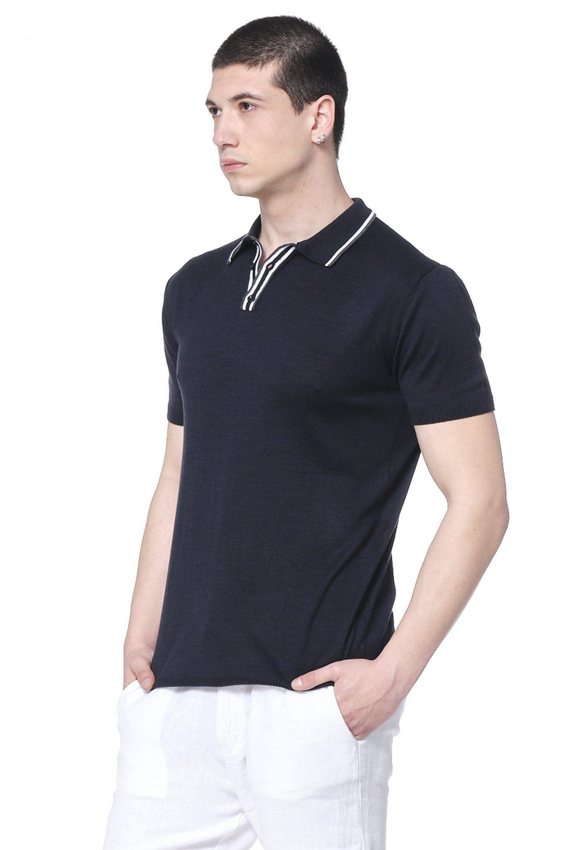 Stripe Collar Polo Shirt - Navy - Ron Tomson ?id=14663968292949