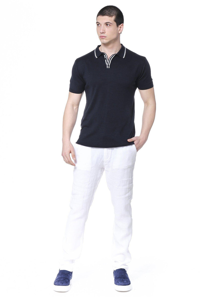 Stripe Collar Polo Shirt - Navy - Ron Tomson ?id=14663968915541