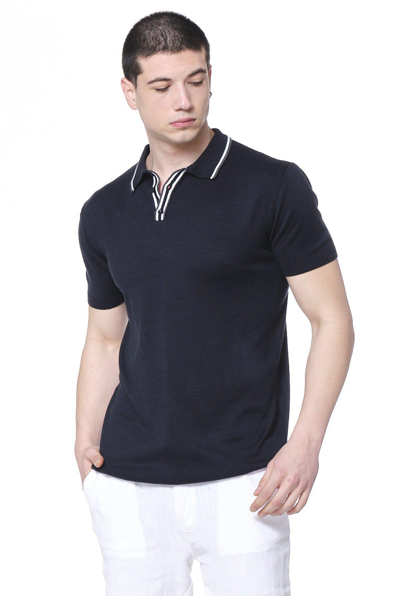 Stripe Collar Polo Shirt - Navy - Ron Tomson ?id=14663969177685