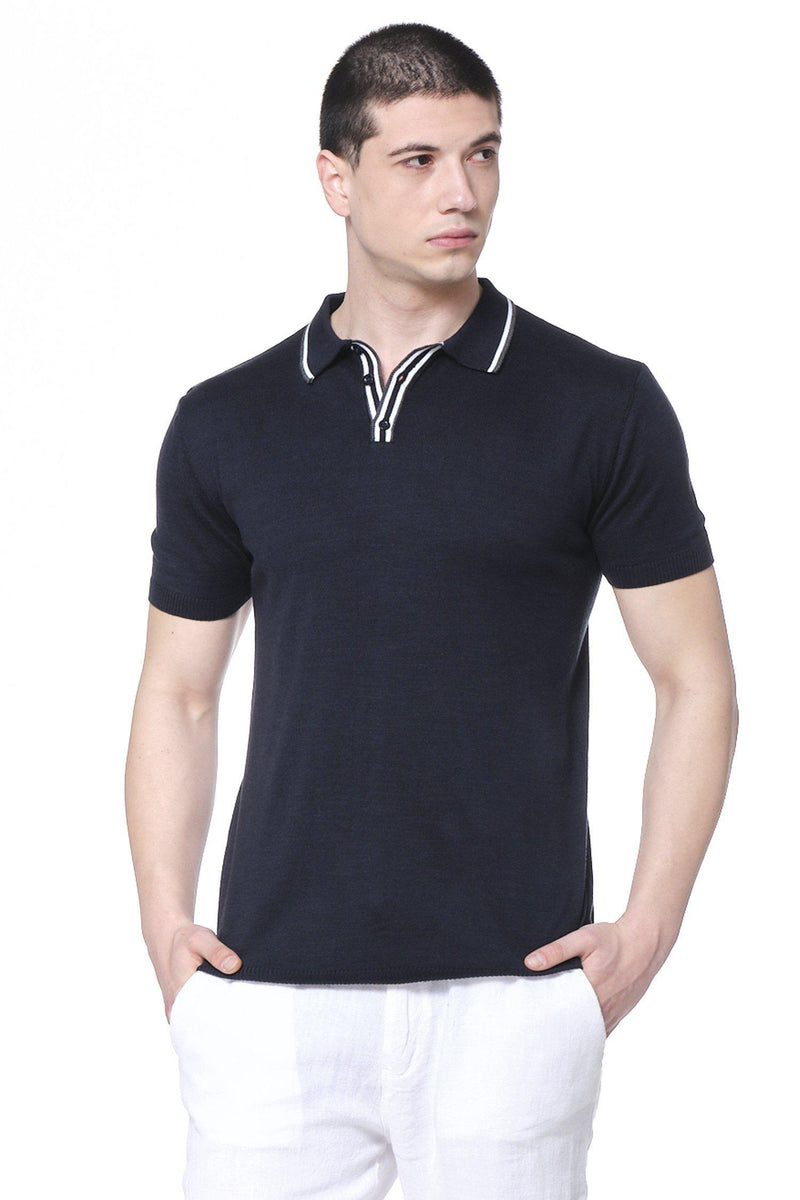 Stripe Collar Polo Shirt - Navy - Ron Tomson ?id=14663968030805