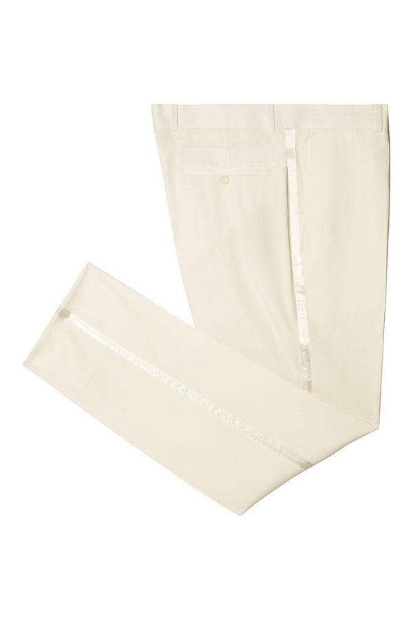 STRIPED FITTED TUXEDO PANTS - OFF WHITE - Ron Tomson