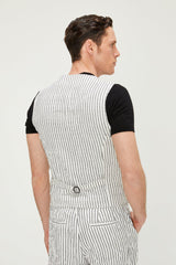 Striped Vest - White Black - Ron Tomson