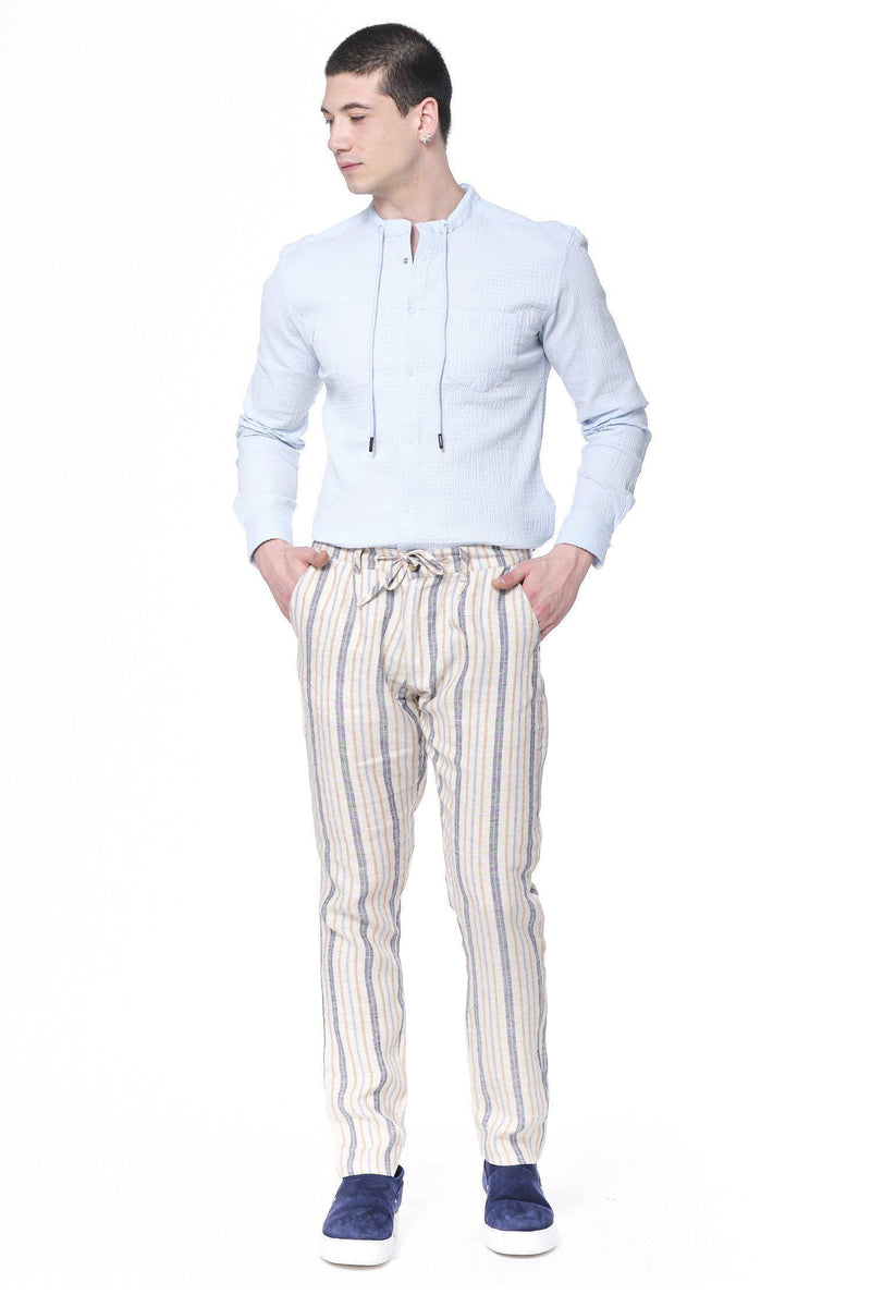 Striped Weekend Leisure Pants - Stone Striped - Ron Tomson