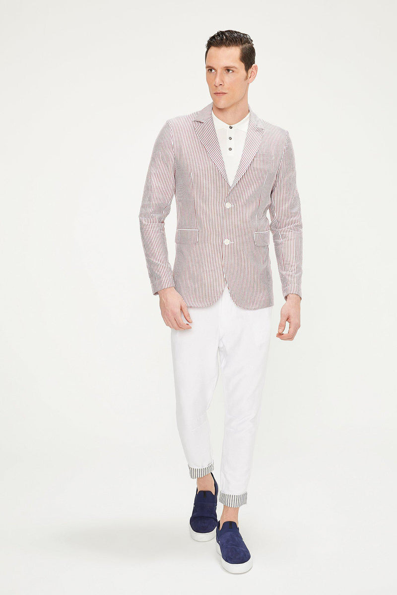 SUMMER STRIPED BLAZER - WINE - Ron Tomson