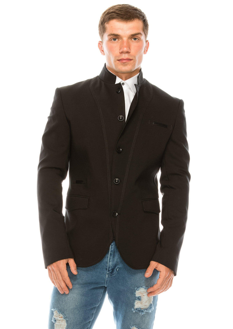 Symmetric Button Closure Jacket - Black - Ron Tomson