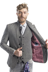 Symmetric Button Closure Jacket - Grey - Ron Tomson
