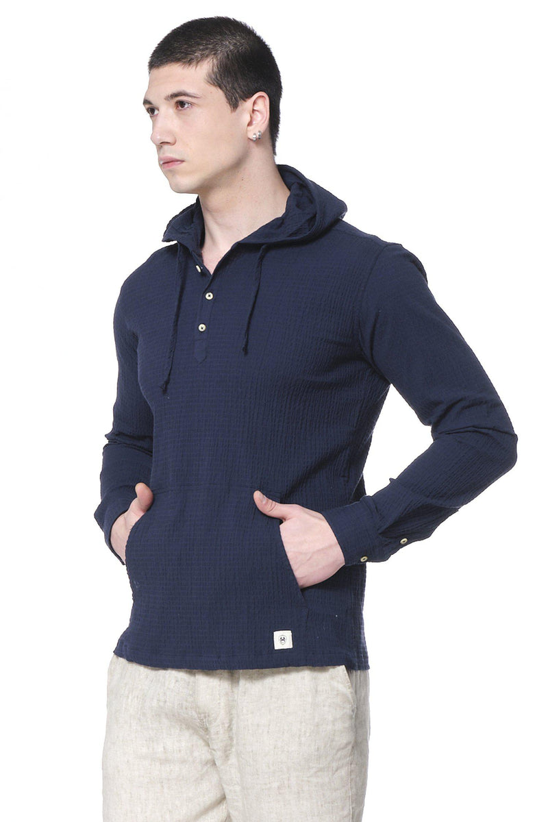 Textured Hooded Shirt - Navy - Ron Tomson