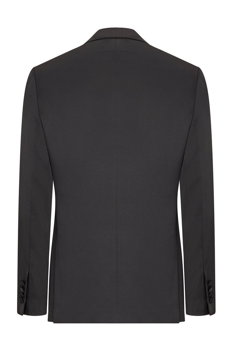 Textured Peak Lapel Tuxedo - Black - Ron Tomson