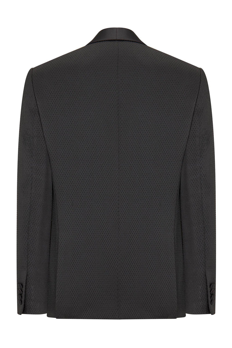 Textured Stretch Shawl Lapel Tuxedo - Black - Ron Tomson