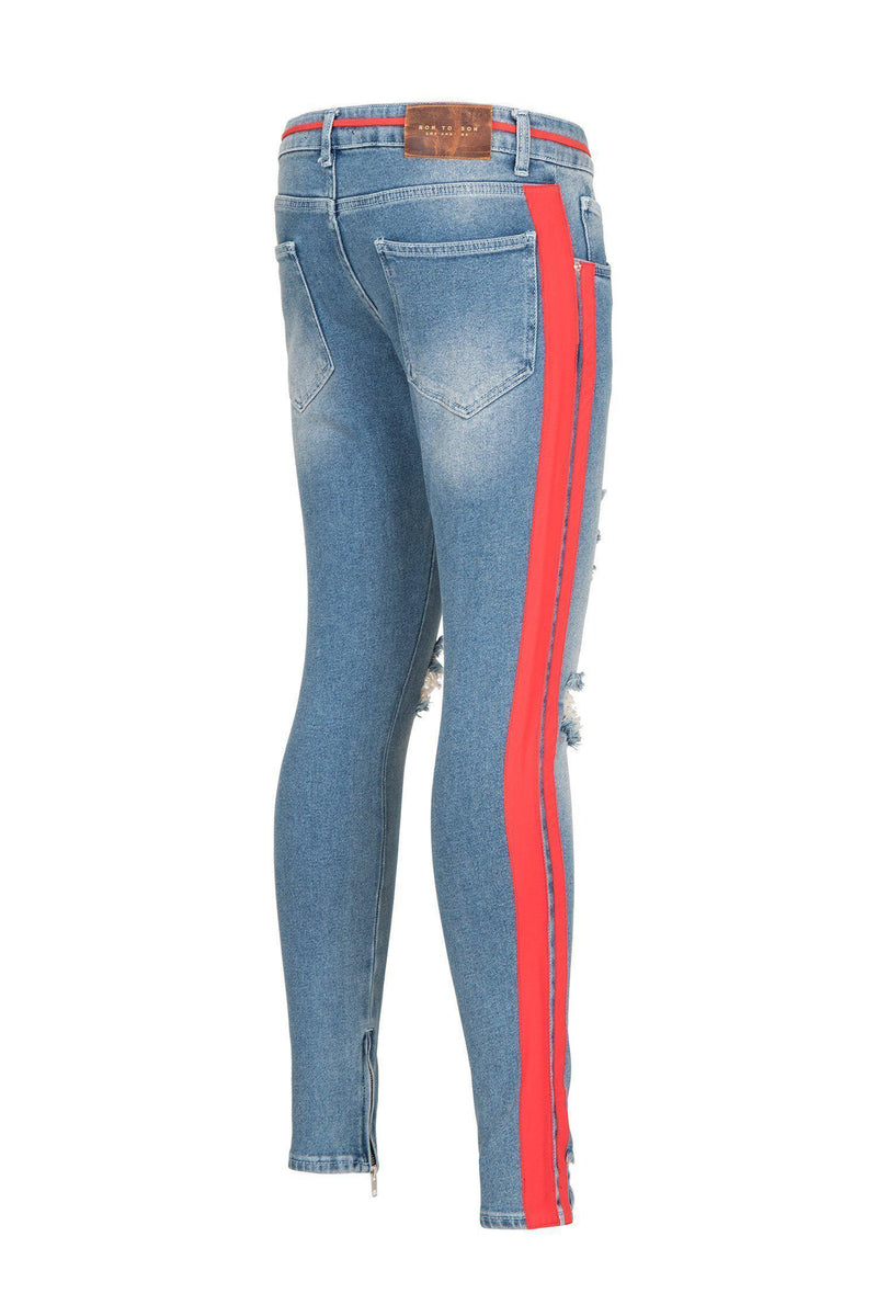 THRASHED SIDE STRIPE ICE BLUE SKINNY FIT JEANS - Ron Tomson