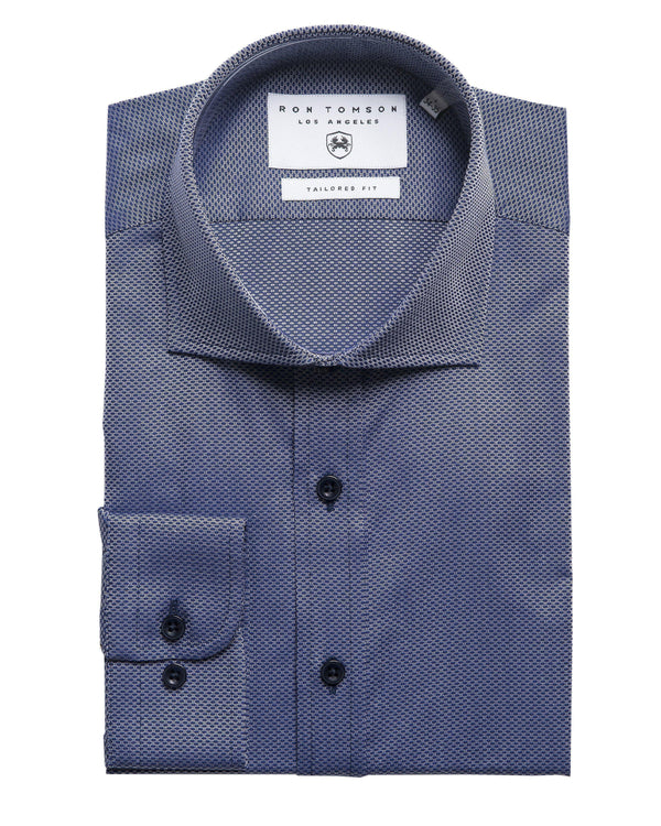 Tonal Accents Dress Shirt - Textured Blues - Ron Tomson