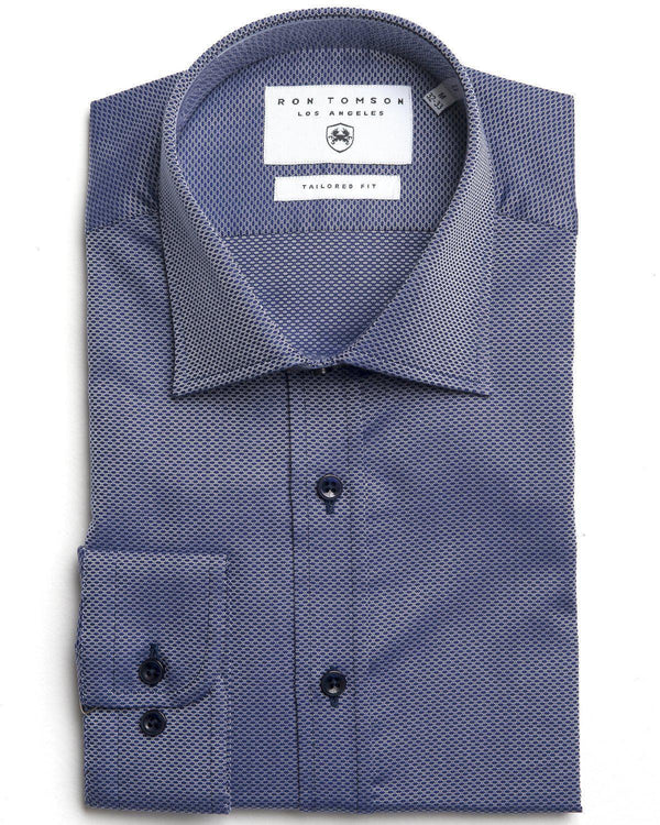 Tonal Accents Dress Shirt - Textured Blues - Ron Tomson ?id=15152750133333