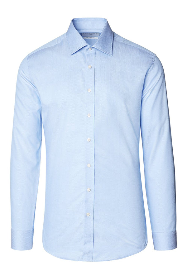 Tonal Accents Spread Dress Shirt - BLUE - Ron Tomson