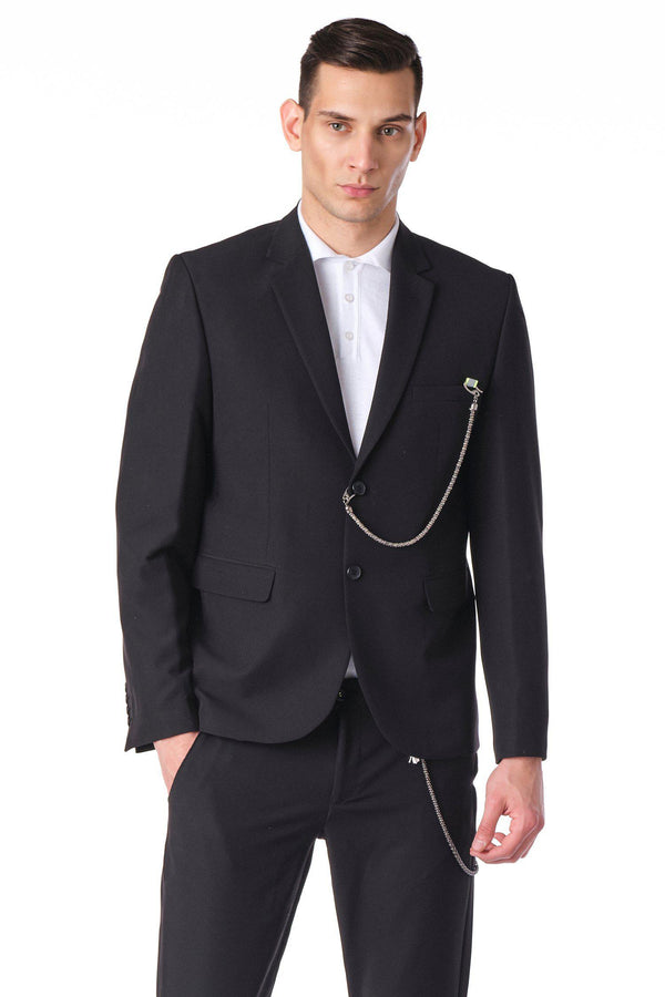 Two Button Monochromatic Blazer - Black - Ron Tomson