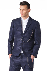 Two Button Monochromatic Blazer - Navy Camo - Ron Tomson