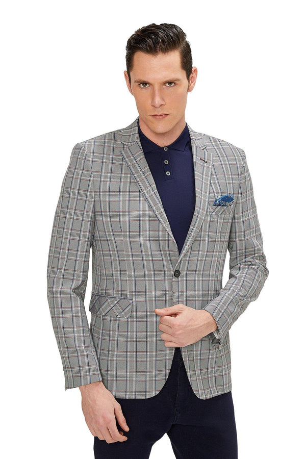 Two Button Slim Fit Blazer - Grey Red - Ron Tomson