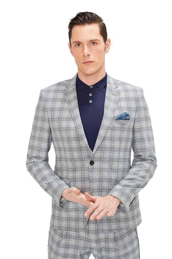 Two Button Slim Fit Blazer - Grey White - Ron Tomson