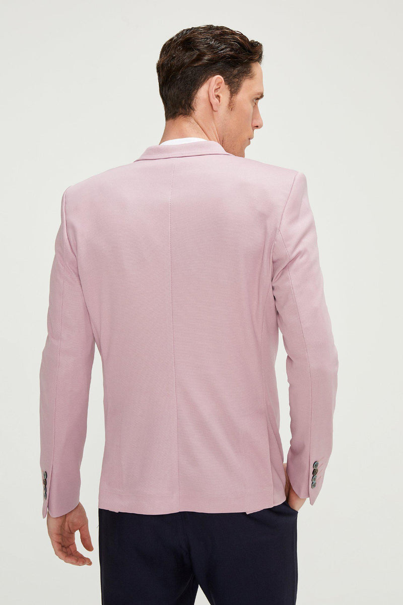 Two Button Slim Fit Blazer - Rose - Ron Tomson
