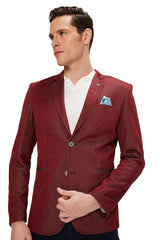 Two Button Slim Fit Blazer - Wine - Ron Tomson
