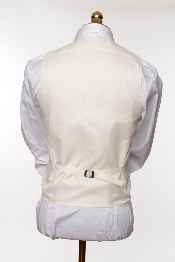 U SHAPED DOUBLE BREASTED VEST - WHITE - Ron Tomson